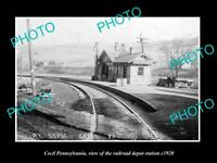 OLD LARGE HISTORIC PHOTO OF CECIL PENNSYLVANIA, THE RAILROAD DEPOT STATION c1920
