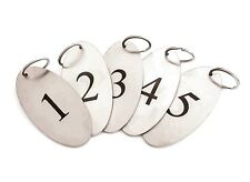 Stainless Steel Key Fobs Numbered 1 To 5 Heavy Duty Oval With Black Numbers