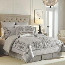 $500 CROSCILL Luxembourg Slate Grey Silver Jacquard 4pc King Comforter Set