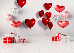 Valentine's Day Red Heart Balloons Gifts 7x5ft Backdrop Vinyl Photo Background