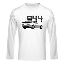 """Longsleeve Shirt """"Porsche 944"""", weiß auf weiß / dreifarbiger Print, vorne"""