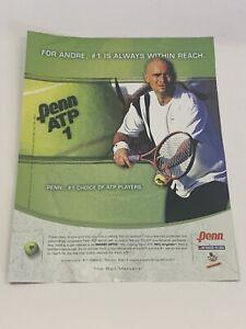 "Andre Agassi Penn ATP Tennis Ball Magazine Print Ad Advertisement 8"" x 10.75"""