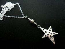 A LOVELY TIBETAN SILVER STAR THEMED NECKLACE. NEW.
