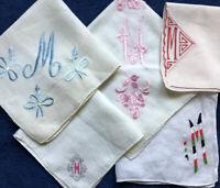 Monogram 'M' Embroidered Hankies Lot 5 Vtg Handkerchief