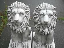 Hand Crafted Lion Stone Effect Garden Outdoor Indoor Statue Ornament Decor 2pc