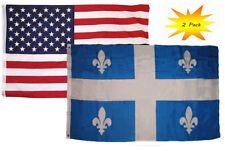 3x5 3'x5' Wholesale Set (2 Pack) USA American & Quebec Canada Flag Banner