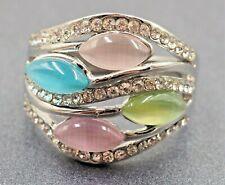 Lovely Silver Nickle Sun Cats Eye & Mirrorback Rhinestones Ladies Dress Ring