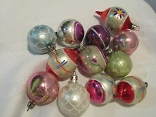 12 Vtg Feather Tree Christmas Ornaments - Balls - Mica Tear Drop - Hand Painted