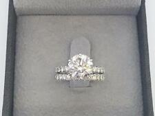 DIAMOND ENGAGEMENT RING SET 2.00 CT D SI1 ROUND 14k WHITE GOLD CHRISTMAS WEDDING