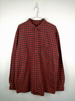 Vintage Mens Flannel Shirt Lands End Size XL Tall Red Check 100% Cotton Button