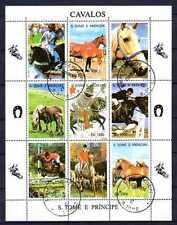 Chevaux St Thomas et prince (38) série complète de 9 timbres oblitérés