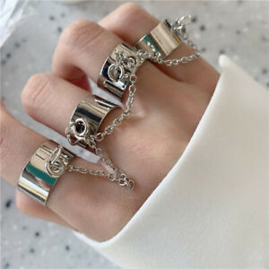 Women's Combination Ring Chain Conjoined Forefinger Open Adjustable Punk Gothic