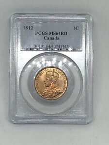 1912 Canada 🇨🇦 Canadian PCGS MS64 RD RED Large One 1 Cent Coin RARE!