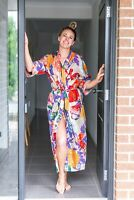 Cotton Kimono Cardigan Open Top Kaftan Frida Kahlo Bird Bathrobe Beach