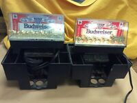 Vintage Budweiser Bar Tavern Light With Clydesdales Lighted Sign Set of 2