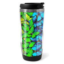 Rainbow Butterflies Travel Mug Flask - 330ml Coffee Tea Kids Car Gift #13252