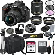 Nikon D5600 DSLR Camera with 18-55mm VR Lens + 128GB Card, Tripod, Flash, ALS Va