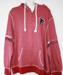 NEW Womens Majestic Atlanta Falcons NFL Red Vintage Look Full Zip Hoodie