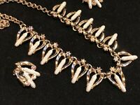 Vintage Unusual Corn and Aurora Borealis Crystal NECKLACE AND EARRING SET