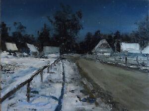 "Nokturn zimowy"" Original Oil Painting 30x40cm signed Garncarek Al,,"