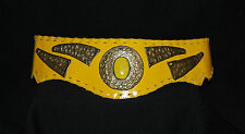 Vintage LAISE ADZER Leather BELT Gold Yellow  Used