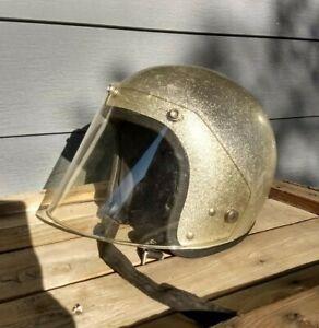 Vintage SILVER Metal Flake MOTORCYCLE HELMET Snap On JAVELIN SHIELD Bell Antique