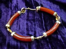 Vintage Chinese Real Carnelian Crystal 9ct gold plated Bracelet Energy Courage