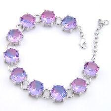 Bi Colored Tourmaline Silver Charming Bracelets Hot Sale 10Mm Round Cut Purple