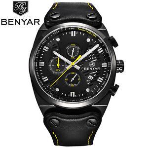 BENYAR Waterproof Mineral Glass Genuine Leather Band Men Army Quartz Wrist Watch