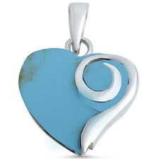 Blue Turquoise Heart .925 Sterling Silver Pendant