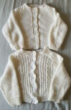 Baby Girl's White Hand Knitted Cardigan Bundle 9-12 months Good Condition