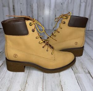 Timberland Brinda Wheat Lace Up Ankle Boot 9 Yellow Nubuck leather NEW