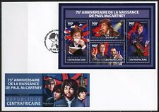 CENTRAL AFRICA 2017 75th BIRTH OF PAUL McCARTNEY BEATLES SHEET FDC