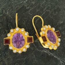 Queen Elinor Amethyst, Garnet and Pearl Earrings: Museum of Jewelry