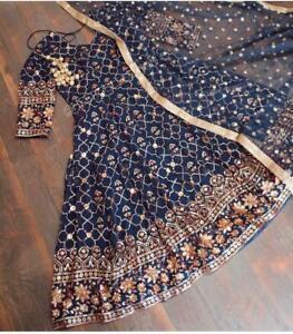 Gown Blue Shalwar Suit pakistani Salwar Kameez Anarkali designer Wedding Wear