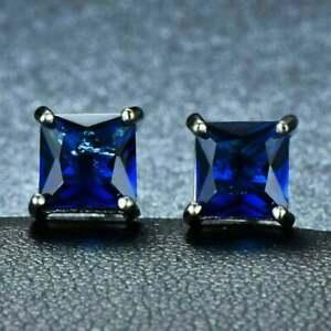 2 CT Princess Cut Tanzanite Ladies Solitaire Stud Earring 925 Sterling Silver