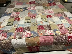 POTTERY BARN Vintage Patchwork Farmhouse Providence King Quilt 3 Euro Shams, GUC