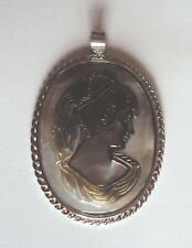 Italy 'Victorian' Cameo silver hanger with black Mother-of-Pearl shell - 19th C