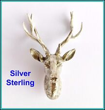 Sterling Silver DEER ANTLER HEAD for wall mount - UNUSUAL GIFT FOR A HUNTER