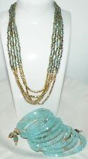 NAKAMOL Necklace Summer Blue Gold Stone Beads w/ Matchy Coil Bead Bracelet