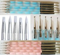 5Pcs 2 Way Nail Art Silicone Tip Pen Brushes Dotting Tools Marbleizing Painting