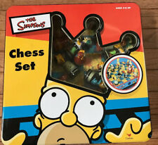 Vintage 1998 The Simpsons Chess Set in Tin Box by Cardinal Complete