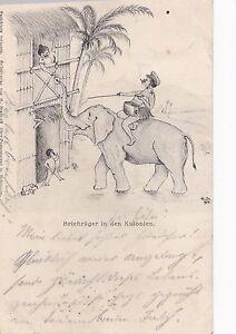 K 408 - DOA  Post, Briefträger in den Kolonien auf Elefant, 1905 gelaufen