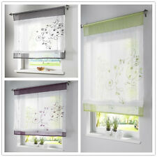 1Panel Retro Rod Liftable Bathroom Window Roman Curtain Floral Sheer Valances JD