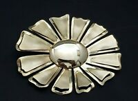 Vintage Large Flower Brooch Pin Layered Gold Tone Retro Shiny Estate Jewelry