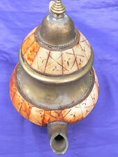 Moroccan handmade beaten copper alloy and coral teapot - ornamental only