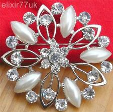"2"" LARGE SILVER PLATED DIAMANTE RHINESTONE CRYSTAL FLOWER PIN BROOCH +FREE GIFT"
