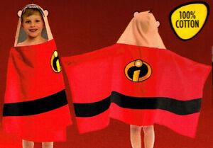 "Disney Pixar The Incredibles Hooded Bath / Beach / Pool Cotton Towel 22"" x 51"""