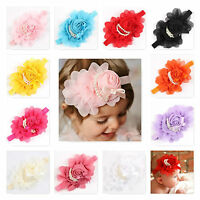 Baby Girls Flower Pearl Headband Soft Head Elastic Band  Bow Hairband