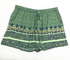 Angie Women's Shorts 1X NEW Green Blue Pattern Elastic Waist 100% Rayon NWT